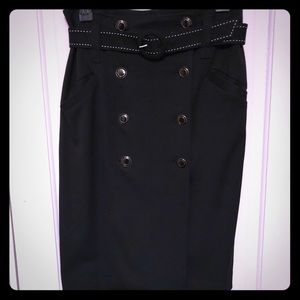 High waist black retro style pencil skirt